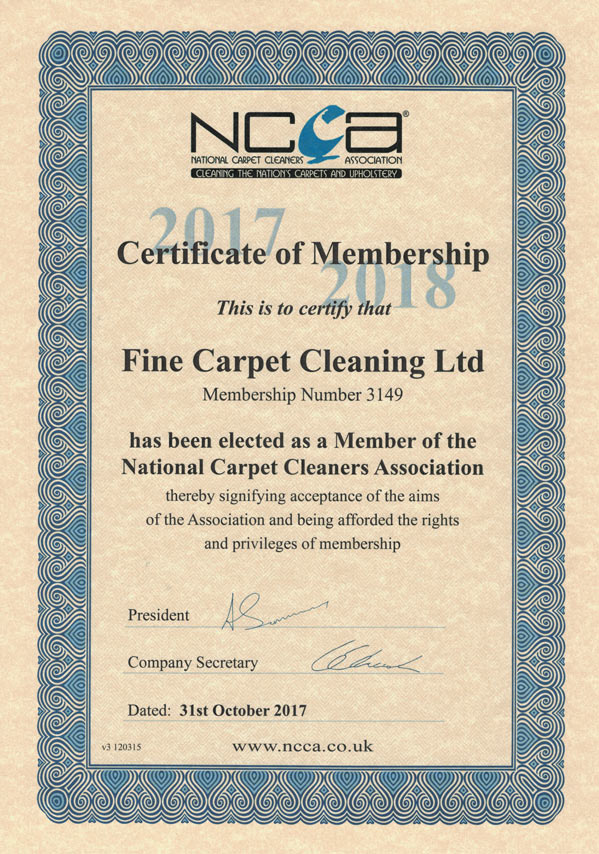 ncca certificate carpet cleaning fine london accreditations
