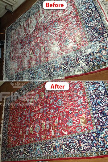 dry carpet cleaning compare before after image