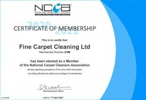 NCCA certificate fine carpet cleaning image